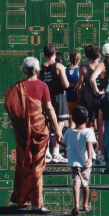 Composite photo of marathon race, silicon chip and Indian grandmother and child.